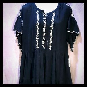Free People NWT Black Caftan/White Embroidery, Med